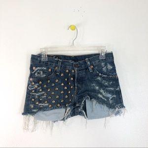 Vintage Levi's Distressed Gold Stud Jean Shorts